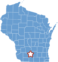 Map of Wisconsin, highlight Blue Mounds and Dane County